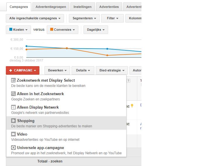 Voorbeeld van de verschillende campagnes die gekozen kunnen worden in de AdWords interface.