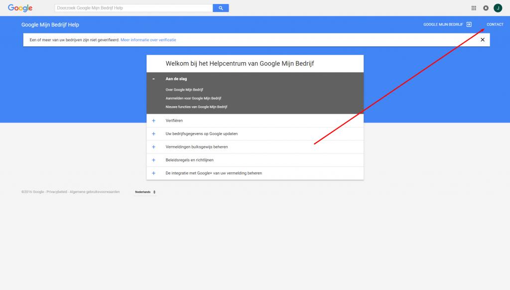 Contact en telefoonnummer Google Mijn Bedrijf