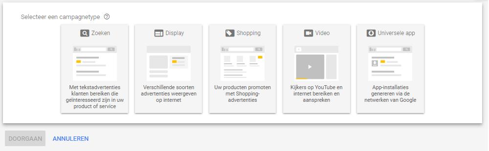 Een overzicht van de diverse campagnes in de AdWords interface.