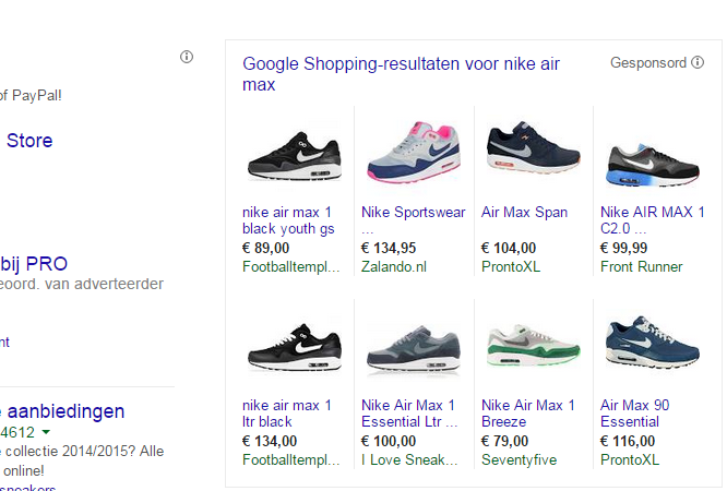 Google Shopping resultaat