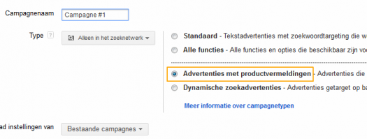 product listing ads campagne maken in adwords