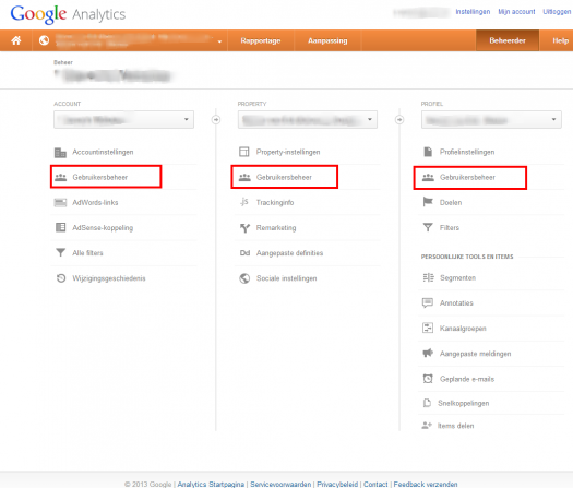 Google Analytics - Beheersrechten