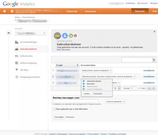 Google Analytics - Beheersrechten op niveau