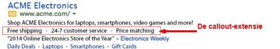 Google AdWords callout-extensie