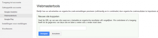 Webmastertools domeinnaam toevoegen