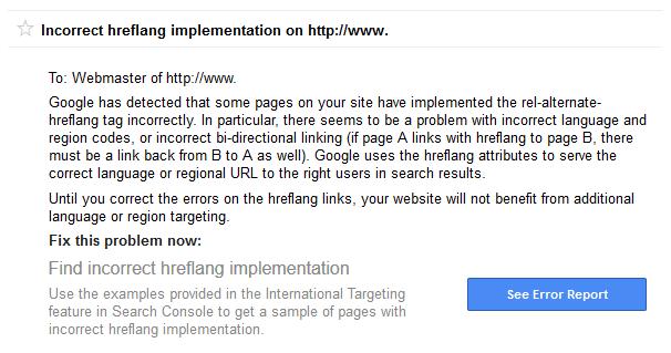 Hreflang tags implementatie melding van Google
