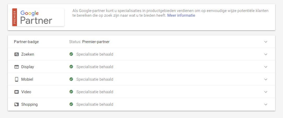 Google Premier-Partner specialisaties