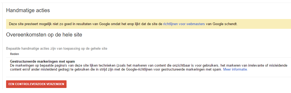 Google penalty gestructureerde markeringen met spam