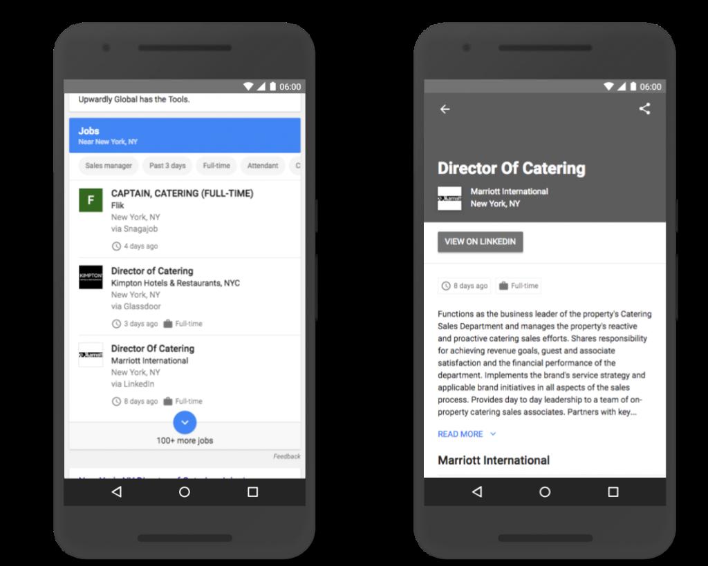 Google for Jobs voorbeeld