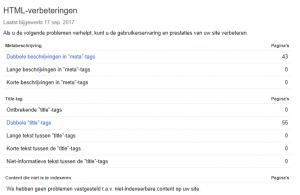 Google Search Console HTML-verbeteringen