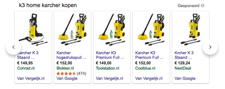 Vergelijkers in Google Shopping