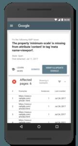 Het AMP-rapport van Search Console beta op mobiel