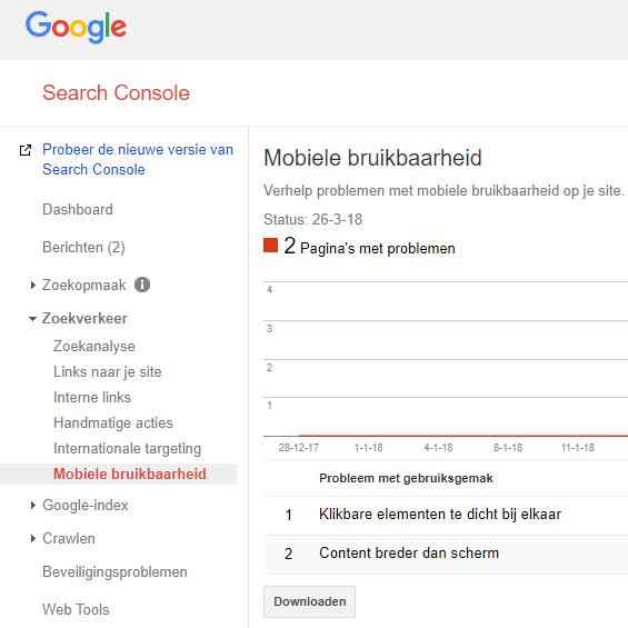 mobiele bruikbaarheid Search Console