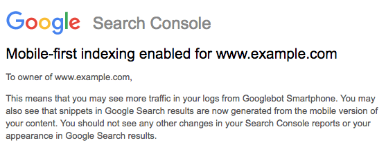 search console mobile first ingeschakeld