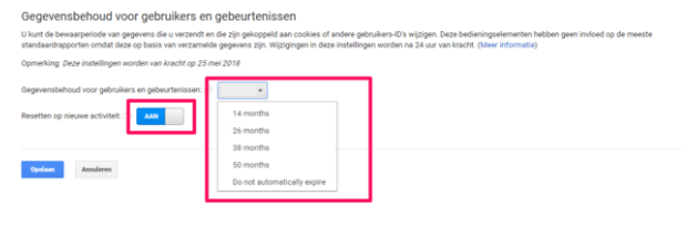 AVG GDPR Google Analytics Dataretentie