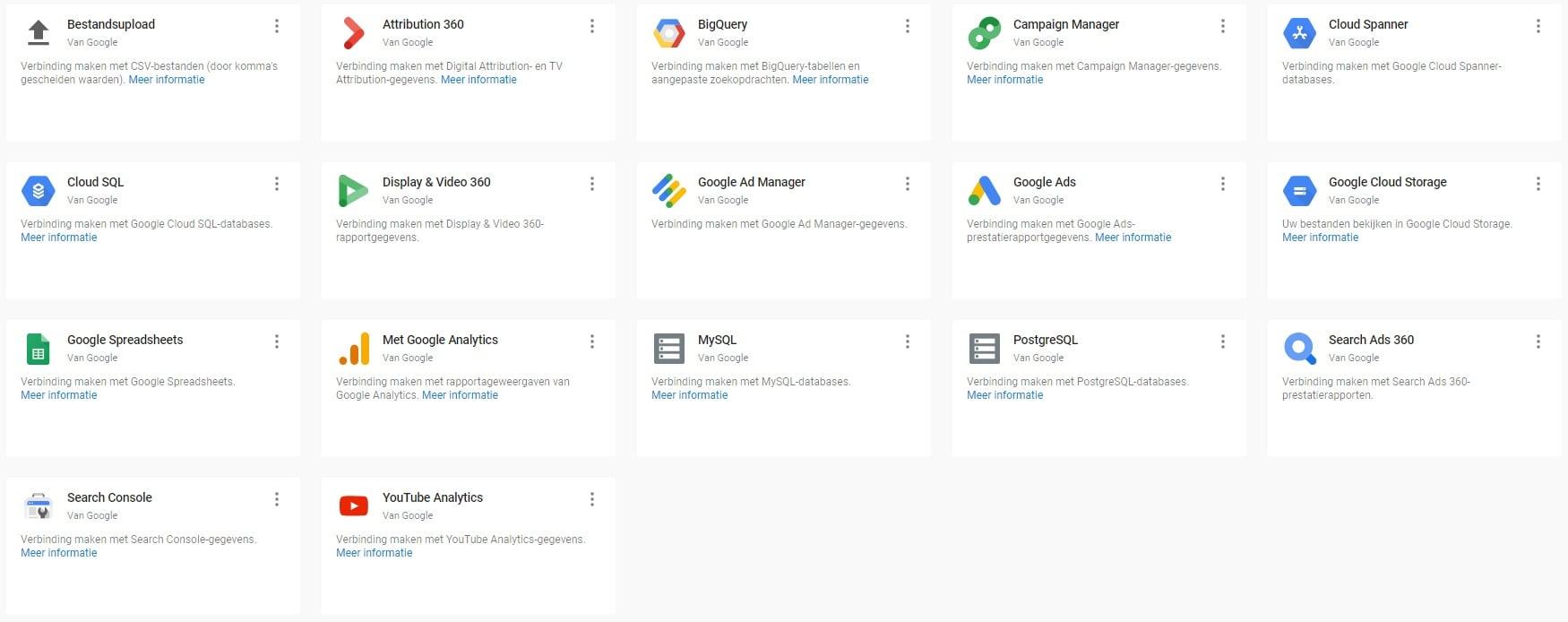Google Data Studio - Google koppelingen