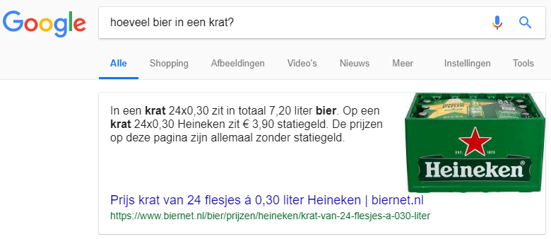 Featured Snippet: hoeveel bier in een krat