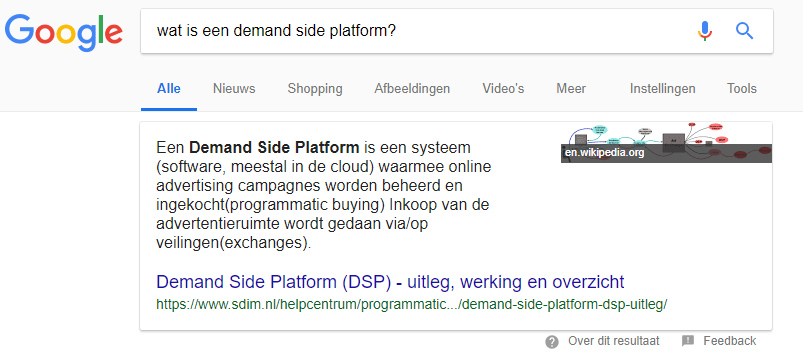 Featured Snippet: Wat is een demand side platfor?