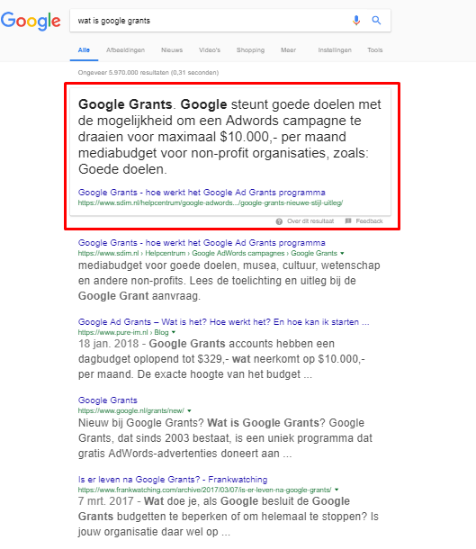 Featured Snippet: Wat is google grants - mobiele weergave