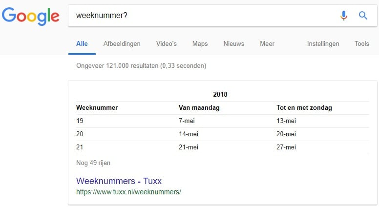 Weeknummers featured snippet: tabelfragment