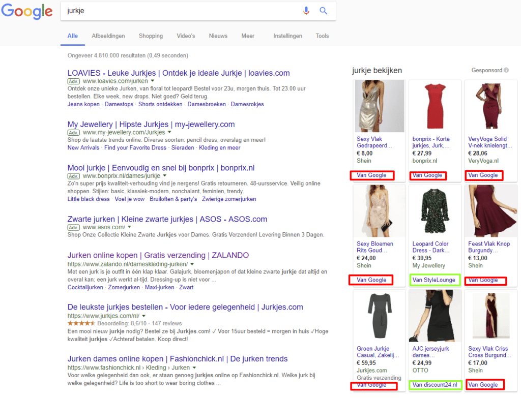 Google Shopping right side CSS partner Google Homepage SERP