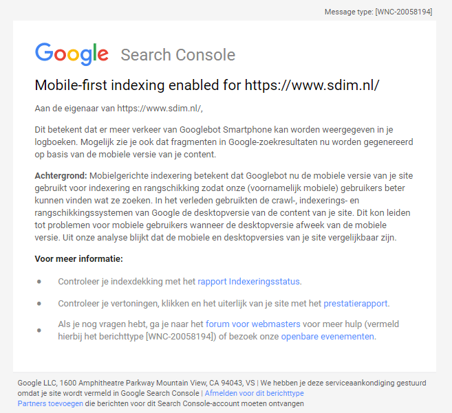 Google mobile first indexing melding