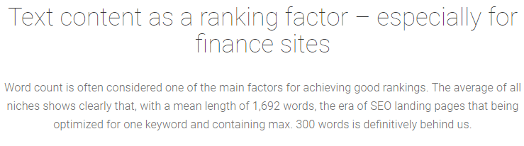 text content - word count als ranking factor