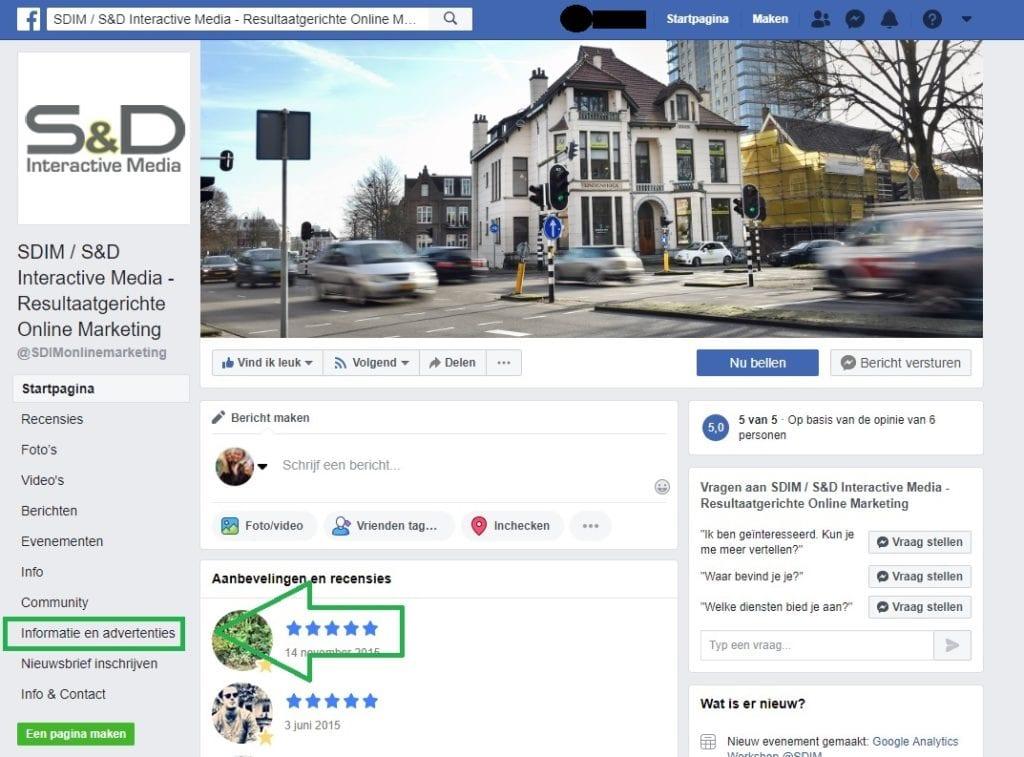 Facebook Bedrijfspagina Concurrentieanalyse - Navigeren naar Informaties en Advertenties