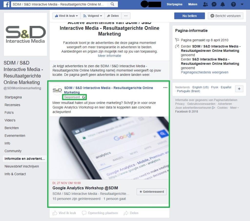 Facebook Bedrijfspagina Concurrentieanalyse - Advertenties van Concurrenten bekijken