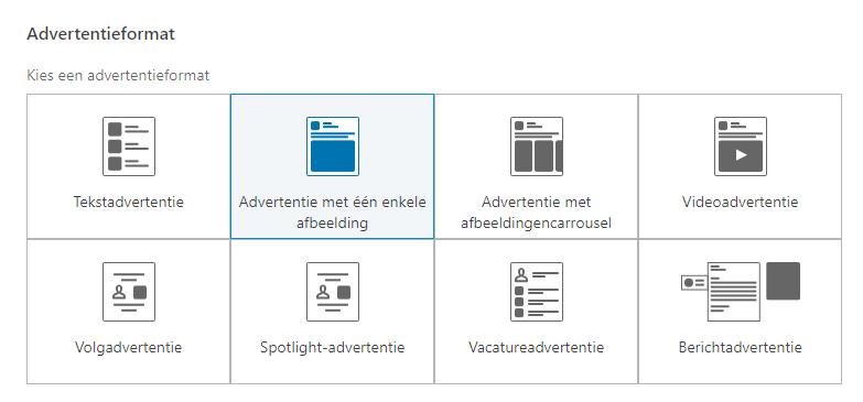 De verschillende advertentieformats in de nieuwe interface van Social Advertising binnen LinkedIn