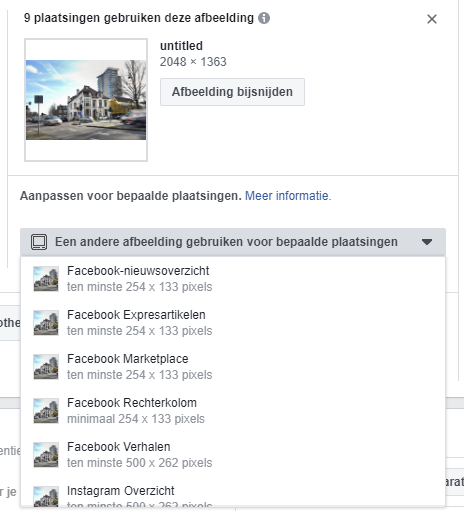 Voorbeelden van Placement Asset Customization binnen Social Advertising op Facebok en Instagram