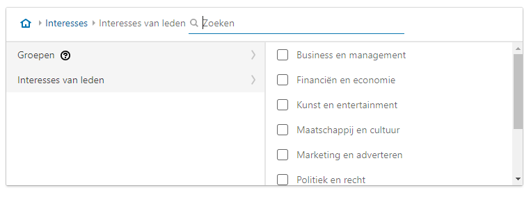Screenshot van interessetargeting binnen Social Advertising op LinkedIn