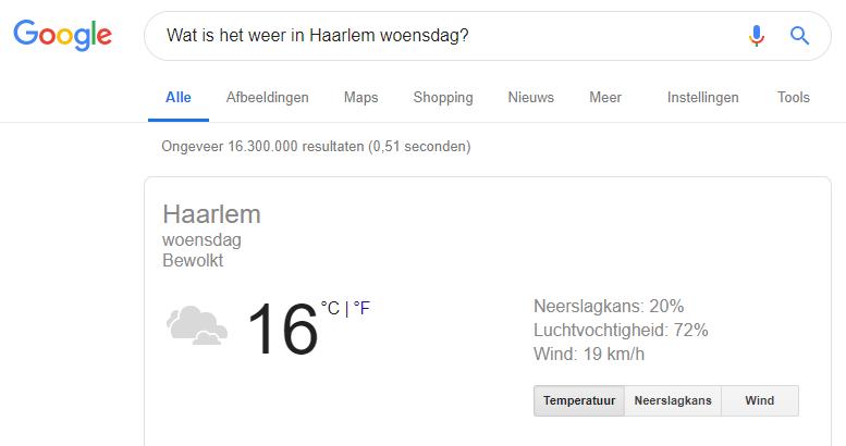 Voorbeeld zoekresultaat weerbericht