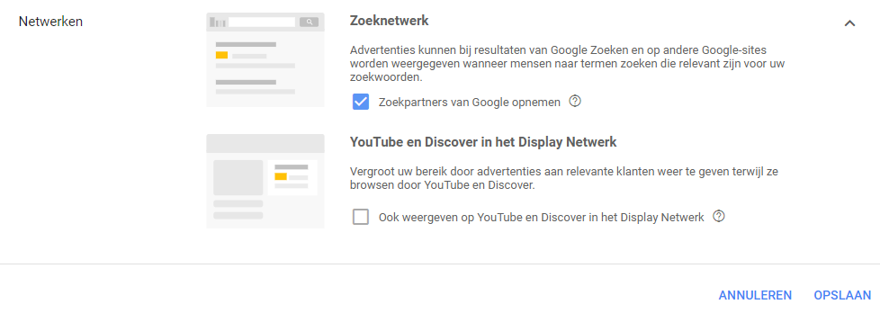 Uitsluiten YouTube & Google Discover Shopping Ads.