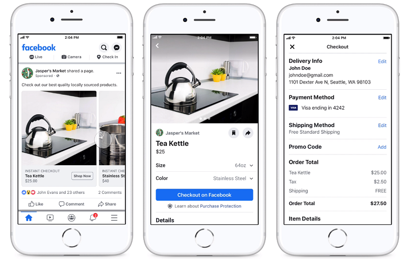 Facebook Nieuwsfeed In-App Checkout