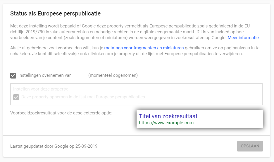 Instellingen in Search Console voor Europese perssites