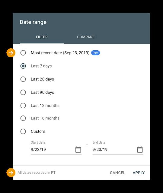 Voorbeeld meest recente datum selecteren in Search Console