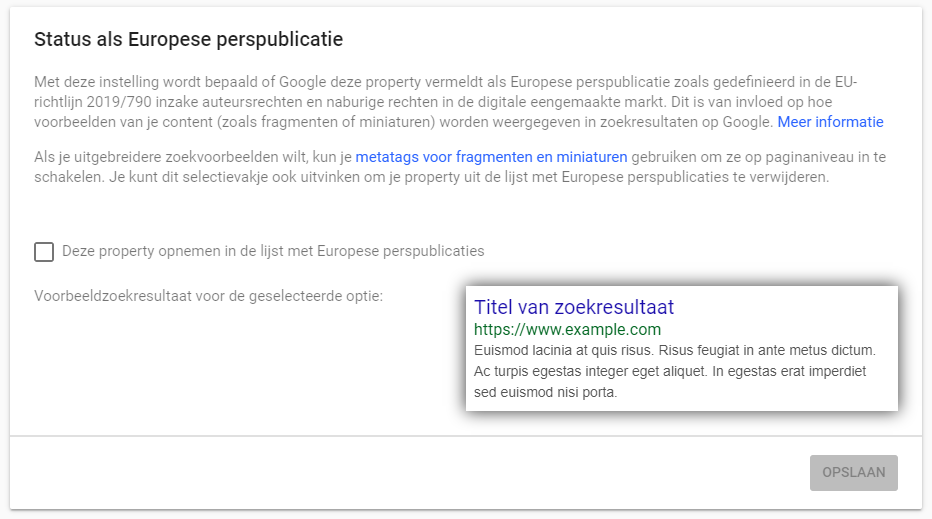 Search Console instellingen voor websites zonder status als Europese perssite