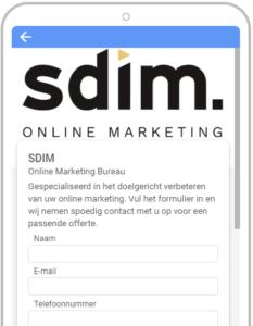 SDIM leadformulier voorbeeld