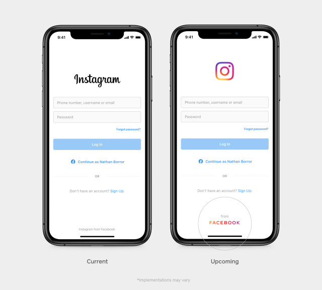 Facebook corporate logo in Instagram
