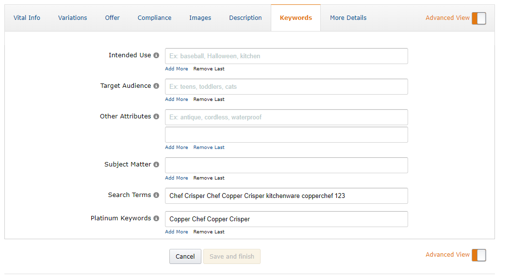 amazon backend keywords