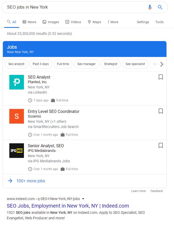 Google for Jobs voorbeeld zoekresultaat