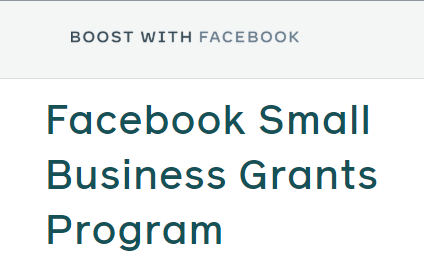 facebook small business grants program
