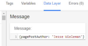 Google Tag Manager Data Layer pagePostAuthor