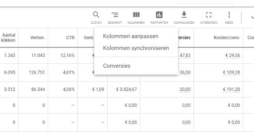 Screenshot kolommen synchroniseren