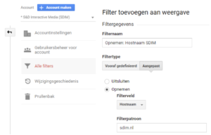 Hostnaam filter Google Analytics