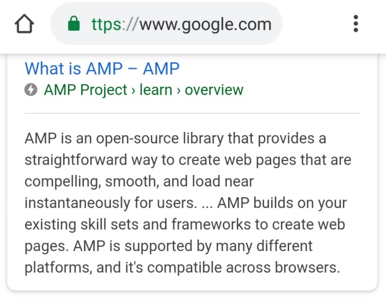 AMP bliksemschicht in de SERP