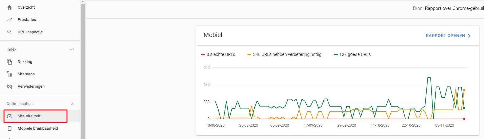 site vitaliteit rapport Google Search Console