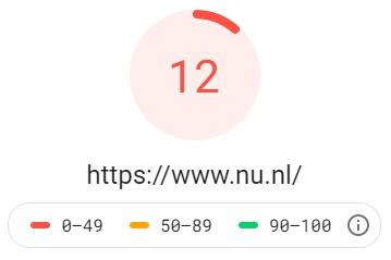 Pagespeed resultaat van Nu.nl
