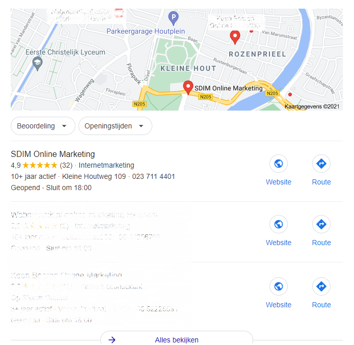 Een voorbeeld van hoe een Local Pack in Google er uit ziet